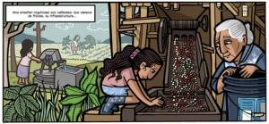 """Una de las viñetas del cómic """"Ondas en el rio"""""""